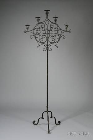 Italian Renaissancestyle Blackpainted Wrought Iron FiveLight Torchiere