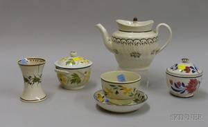Six Pieces of Early 19th Century English Handpainted Floral Decorated Staffordshire Tableware