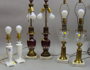 Three Pairs of Art Glass Table Lamps