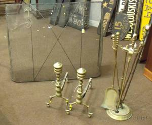 Pair of Brass Ringturned Andirons a Set of Three Brass Fireplace Tools with Stand a Pair of Tongs and a Wir