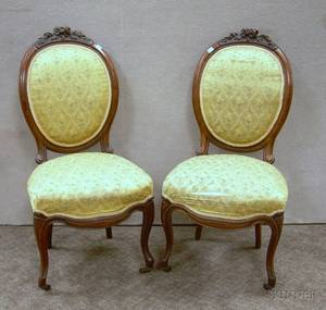 Pair of Victorian Rococo Revival Upholstered Carved Walnut and Burl Veneer Parlor Side Chairs