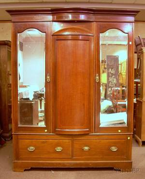 Edwardian Inlaid Mahogany TwoDoor Wardrobe over Two Short Drawers