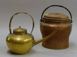 Brass Hot Water Kettle and a Copper Pot with Cover