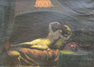 20th Century American School Oil on Canvas Reclining Nude Female with a Cockatoo