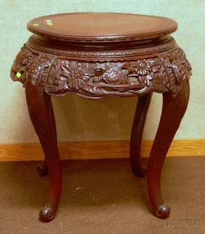 Chinese Export Carved Hardwood Table