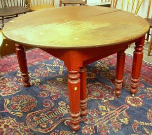 Victorian Circular Walnut and Redpainted Kitchen Table