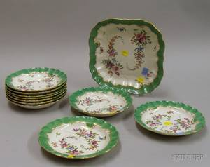 Elevenpiece Royal Worcester Handpainted Floral Decorated Porcelain Salad Set
