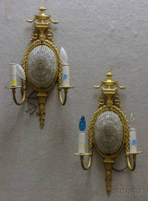 Pair of Neoclassical Giltbronze and Glass Beaded TwoLight Wall Sconces