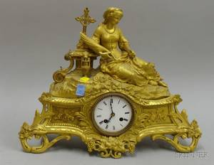 Neoclassical French Gilt Mantel Clock