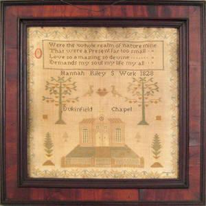 English silk on linen sampler dated 1828