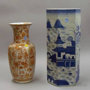 Chinese Export Porcelain Gilt and Orange Mandarin Vase and a Hexagonal Canton Umbrella Stand