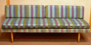 Midcentury Modern Upholstered Hardwood Bench Sofa