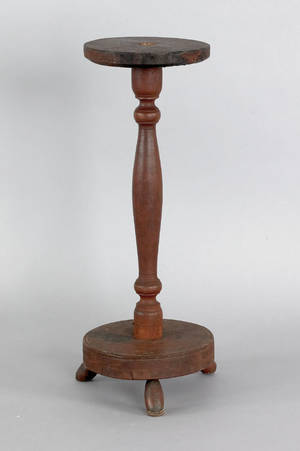 Primitive stained pine and maple candlestand ca 1800