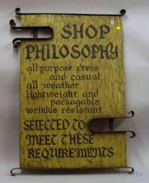 Arts  Crafts Style Painted Hewn Wooden Retail Philosophy Sign