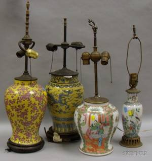 Two Japanese Enamel Decorated Ceramic Vase Table Lamps and Two Chinese Export Porcelain Table Lamps