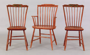 Pair of New England painted windsor side chairs ca 1830