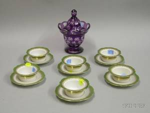 Amethyst CuttoClear Glass Jar with Cover and a Set of Six Austrian Porcelain Ramekins with Underplatese2
