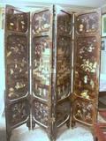 Chinese Coromandel Carved Hardstone and Ivorymounted FourPanel Floor Screen
