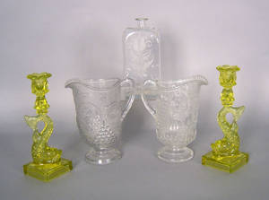 Group of glass to include two Admiral Dewey pitchers