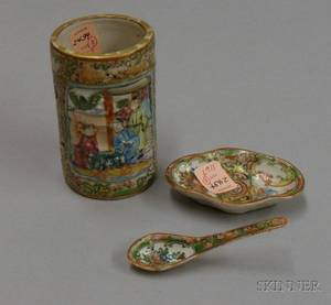 Chinese Export Porcelain Rose Medallion Miniature Spoon a Shaped Dish and a Small Brush Pot