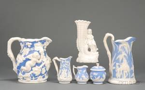 Six Staffordshire Parian Items