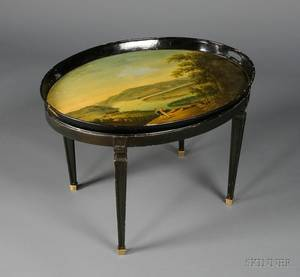 English Regency Painted Tole Tray on Later Stand