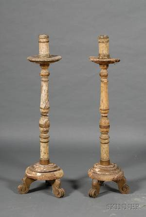 Pair of Italian Renaissancestyle Tall Faux Marble Painted Wood Candlesticks