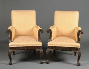 Pair of Early Georgianstyle Carved Mahogany Library Chairs