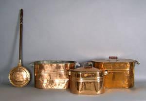Three copper boilers