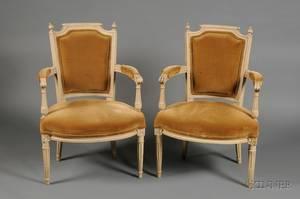Pair of Louis XVI Style Beige Painted Beechwood Fauteuils en Cabriolet