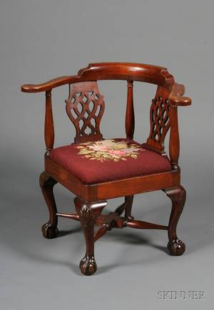 George III Style Carved Mahogany Corner Chair