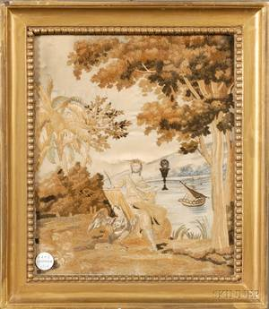 Silk Needlework Picture of a Saint in a Landscape