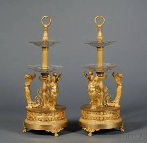 Fine Pair of Empire Giltbronze and Colorless Cut Glass Twotiered Servers