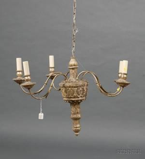 Louis XVI Style Silvered Wood Fivelight Chandelier