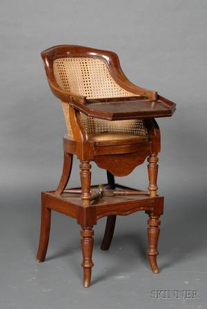 Regency Mahogany and Caned Childs Chair on Stand