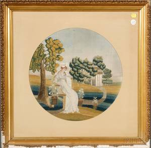 Framed Silk and Chenille Needlework Picture