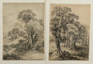 Attributed to George Frost British 17541821 Lot of Two Landscapes The Edge of the Meadow