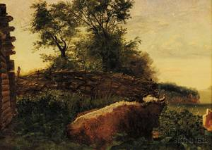 Continental School 19th Century Cow at RestA Barbizon Style Landscape