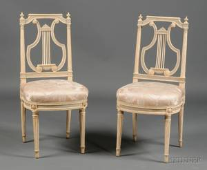 Pair of Louis XVI Blue and White Painted Lyreback Side Chairs
