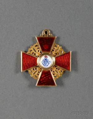 Small Russian Yellow Gold and Enamel Order of St Anne