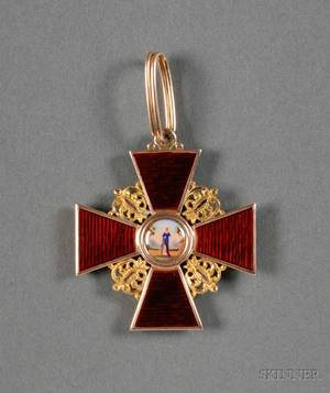 Russian Yellow Gold and Enamel Order of St Anne