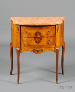 Louis XVXVI Style Marquetryinlaid Marbletop Side Table