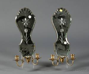 Pair of Venetianstyle Mirrored Glass Twolight Wall Sconces
