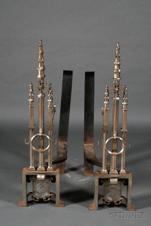 Pair of Large Reformed Gothic Steel Fire Dogs