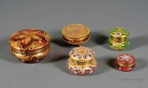 Four Continental Enamel Decorated Glass Dresser Boxes