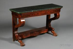 American Classical Mahogany and Veneer Console Table with Faux Marble Top