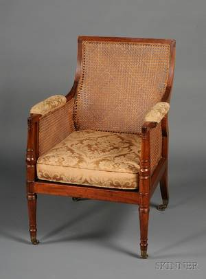 Regency Mahogany and Caned Library Chair