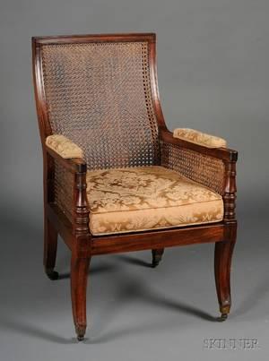 Regency Mahogany and Caned Library Armchair