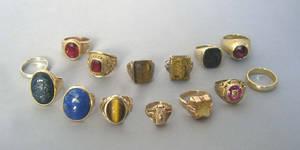 Fourteen mens 10K and 14K gold rings