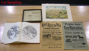 Group of ephemera and prints to include auction advertisement